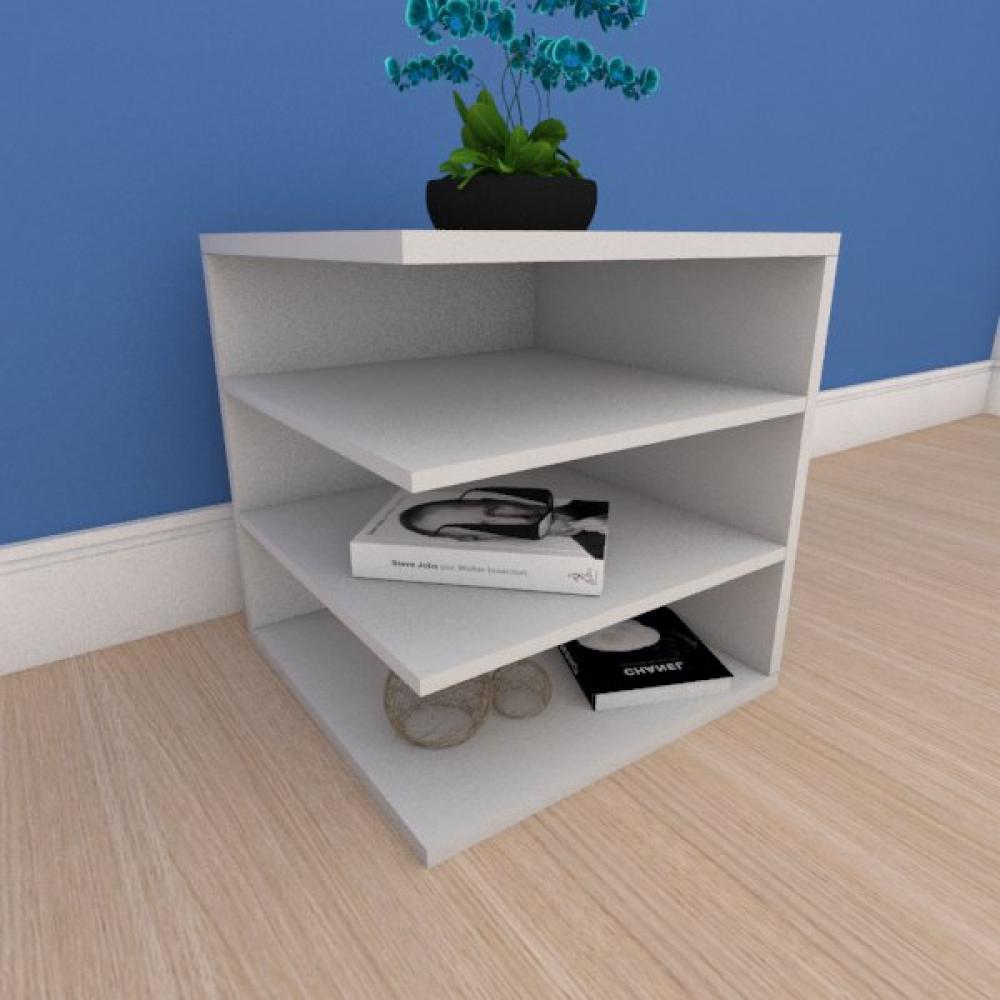 Mesa Lateral simples com prateleiras em mdf cinza
