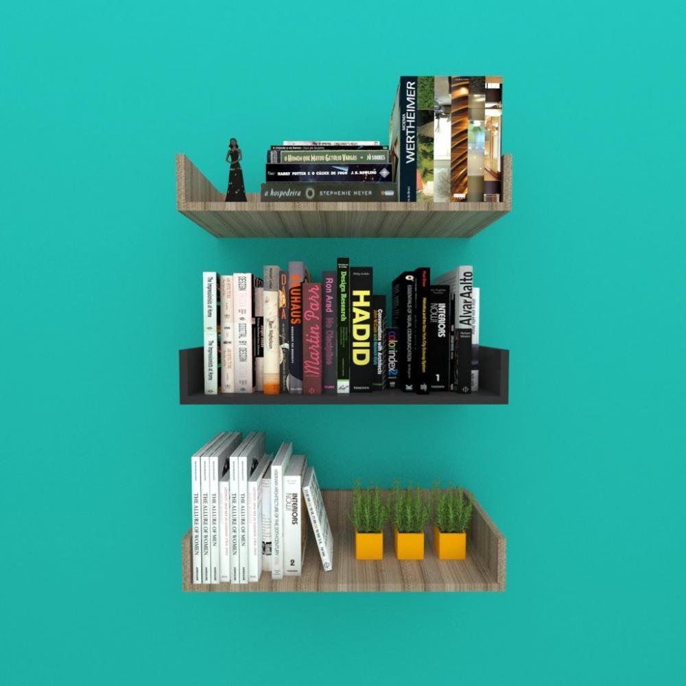 Estante de Livros nichos modernos, em mdf amadeirado escuro com preto