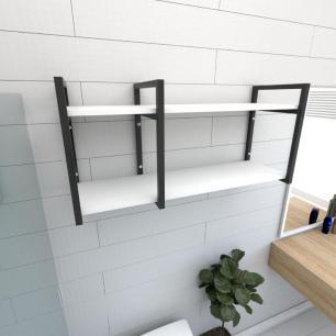 Prateleira industrial para banheiro aço cor preto prateleiras 30 cm cor branca modelo ind21bb