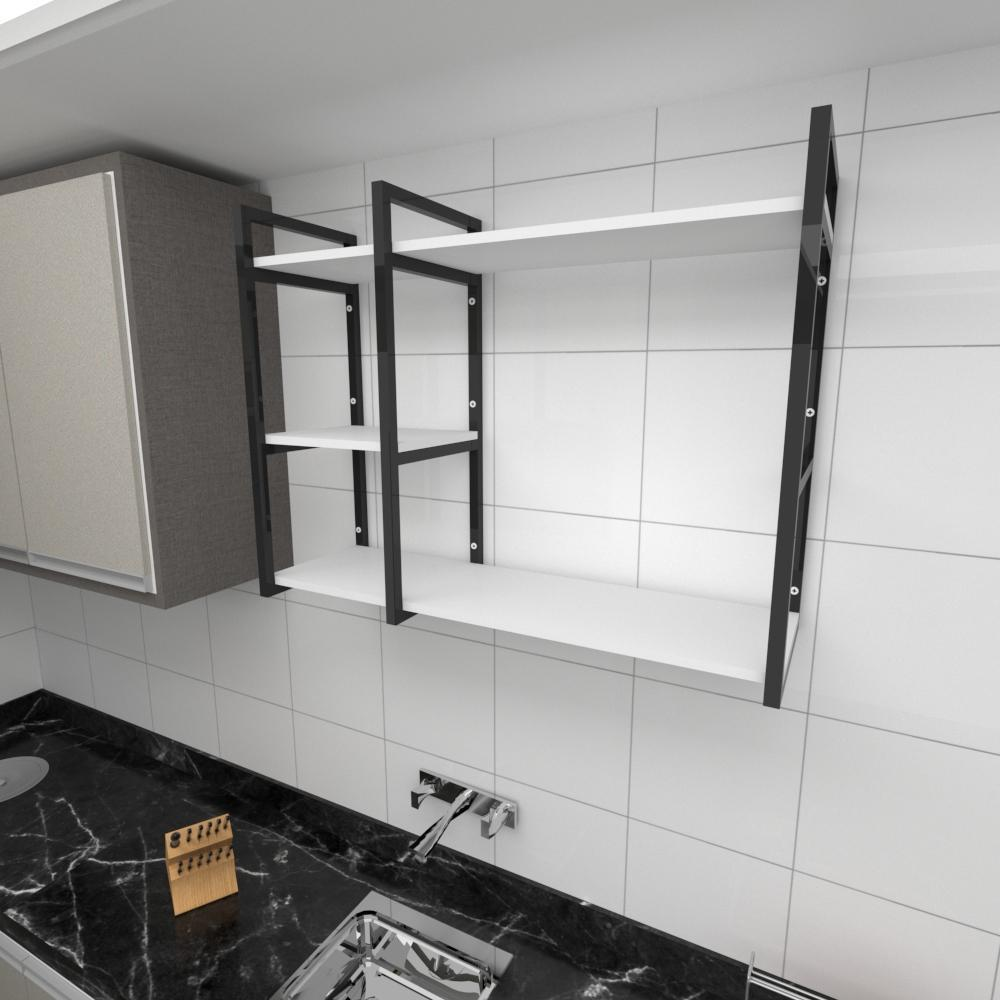 Prateleira industrial para cozinha aço cor preto prateleiras 30 cm cor branca modelo ind16bc