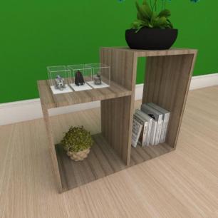Mesa Lateral simples com 2 nicho em mdf amadeirado