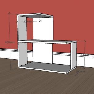 Mesa lateral para sofá formato S simples em mdf Branco