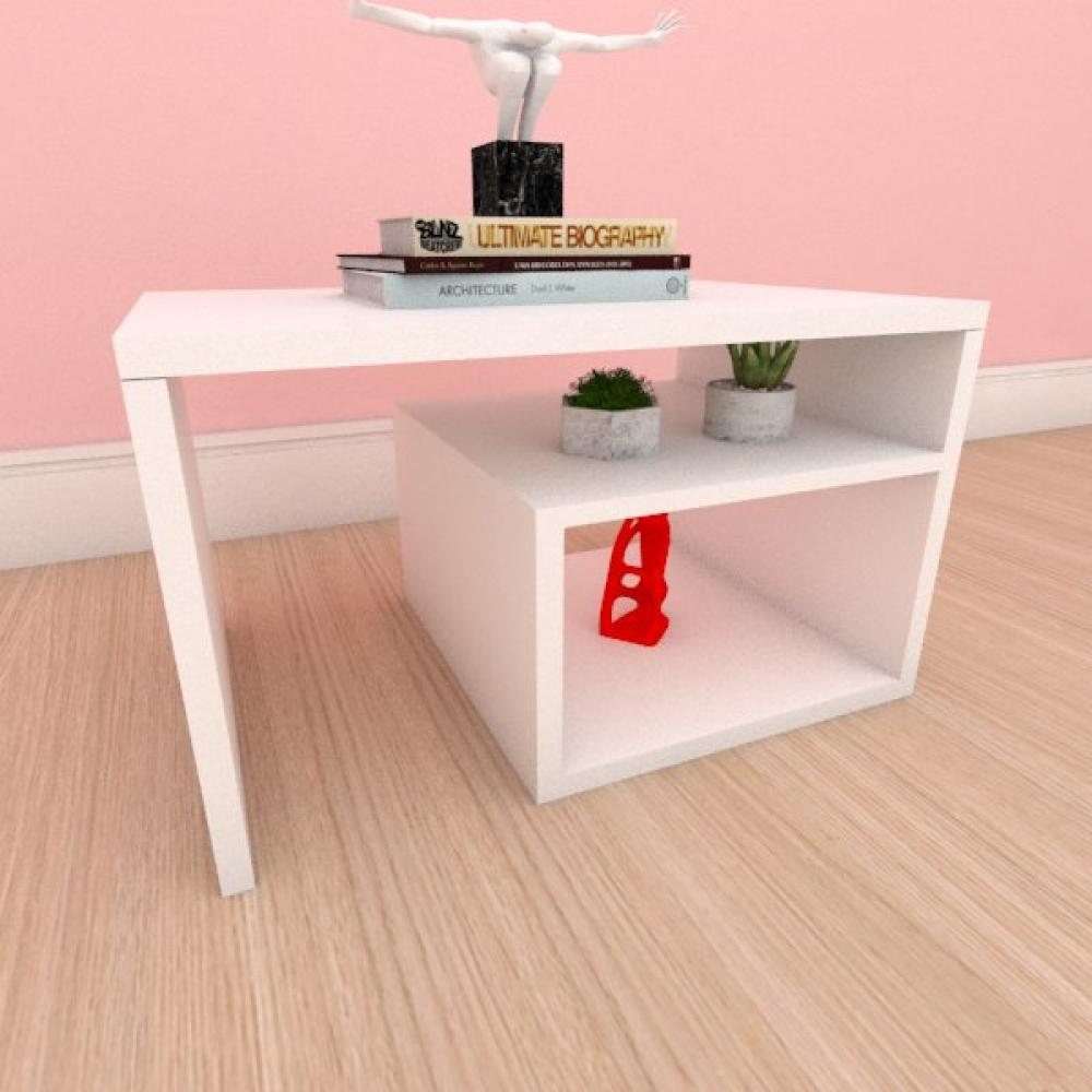 Mesa Lateral moderna simples com prateleiras em mdf branco