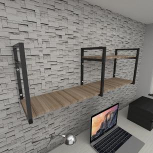 Prateleira industrial para escritório aço cor preto mdf 30 cm cor amadeirado escuro modelo ind07aees