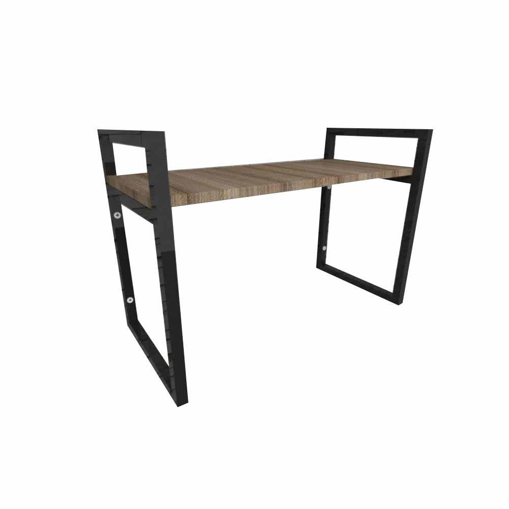 Prateleira industrial aço cor preto 30 cm MDF cor amadeirado escuro modelo indfb03aesl