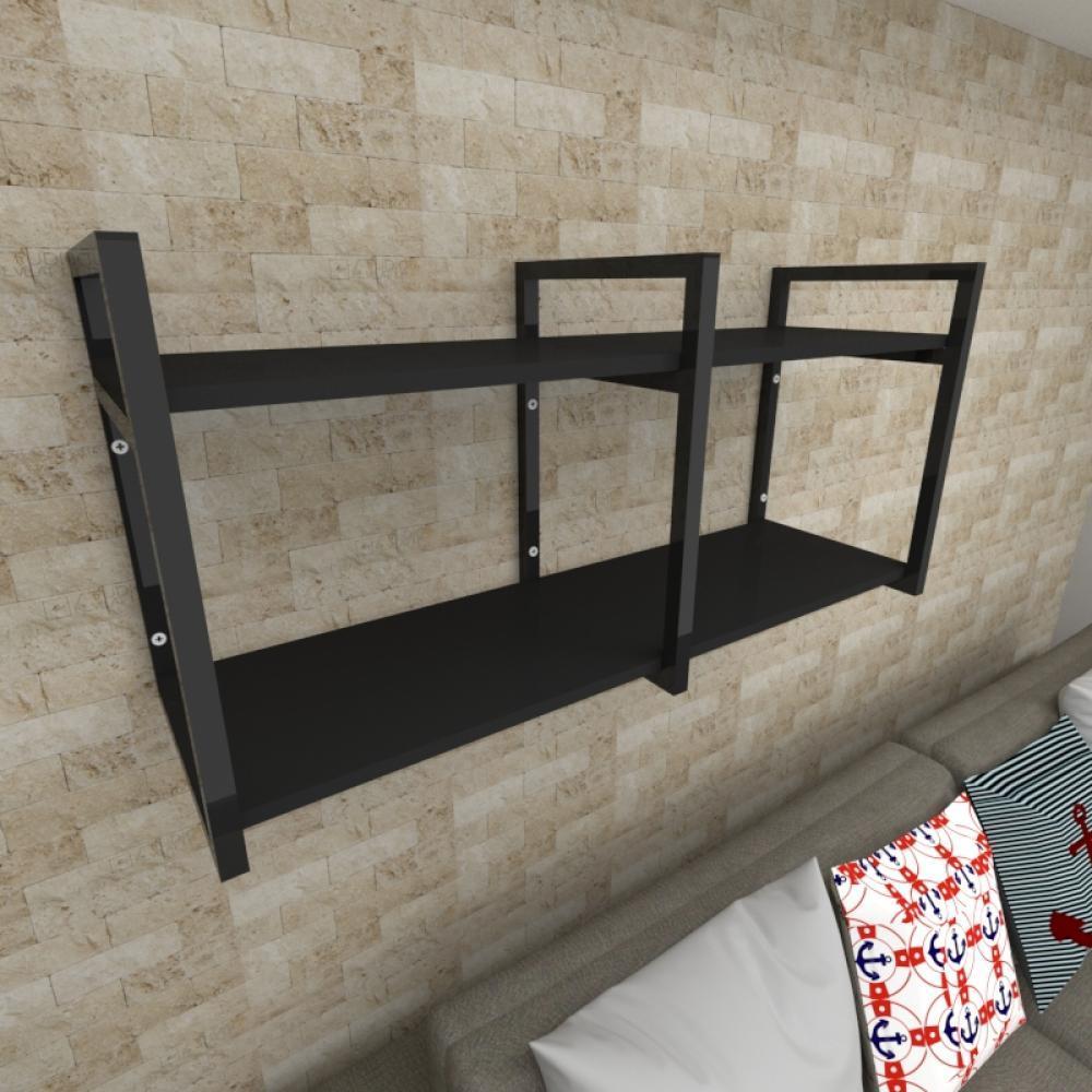 Prateleira industrial para Sala aço cor preto prateleiras 30 cm cor preto modelo ind22psl