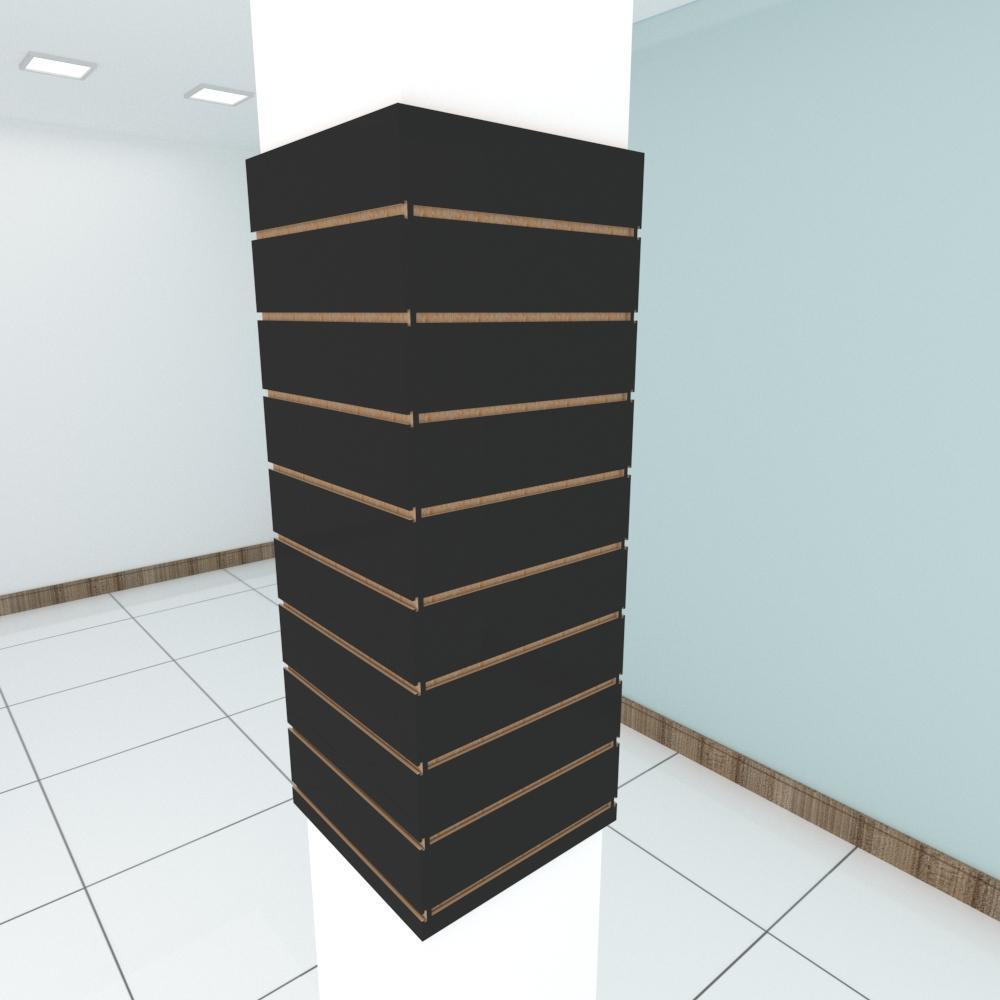 Kit 4 Painel canaletado para pilar preto 2 peças 44(L)x120(A)cm + 2 peças 40(L)x120(A)cm