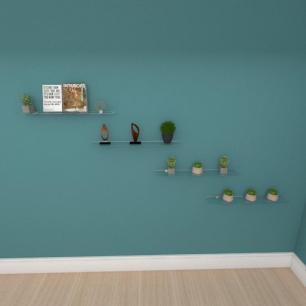 Kit com quatro Prateleira para escritório 60 cm vidro temperado