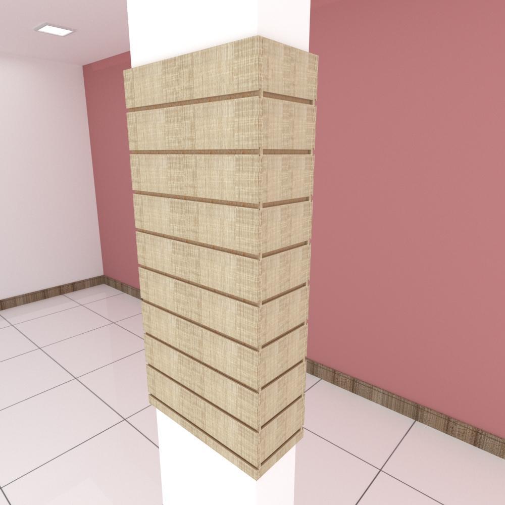 Kit 4 Painel canaletado para pilar amadeirado claro 2 peças 54(L)x120(A)cm + 2 peças 20(L)x120(A)cm