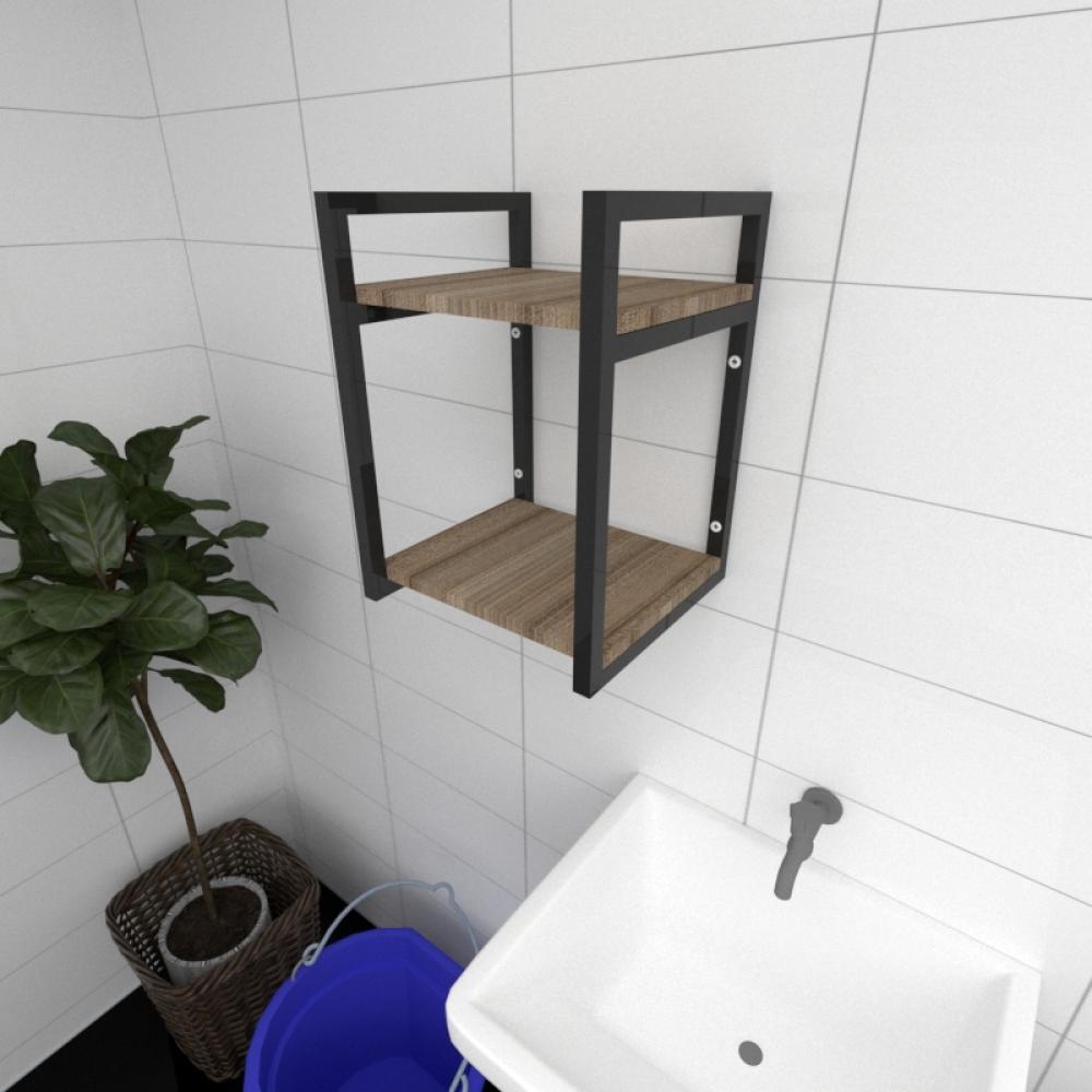 Prateleira industrial para lavanderia aço cor preto mdf 30cm cor amadeirado escuro modelo ind24aelav