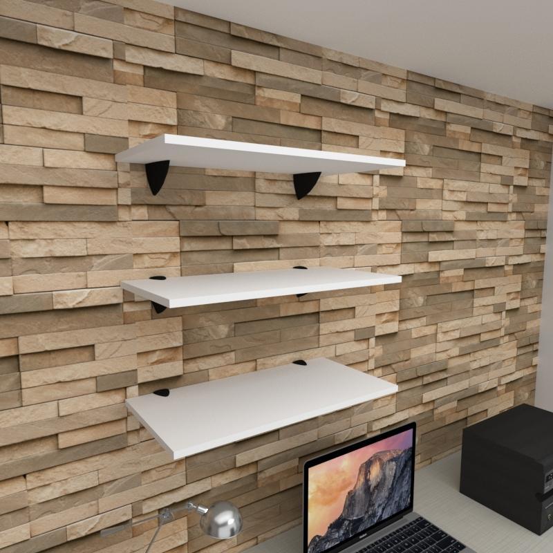 Kit 3 prateleiras para escritório em MDF suporte tucano branco 60x30cm modelo pratesb06
