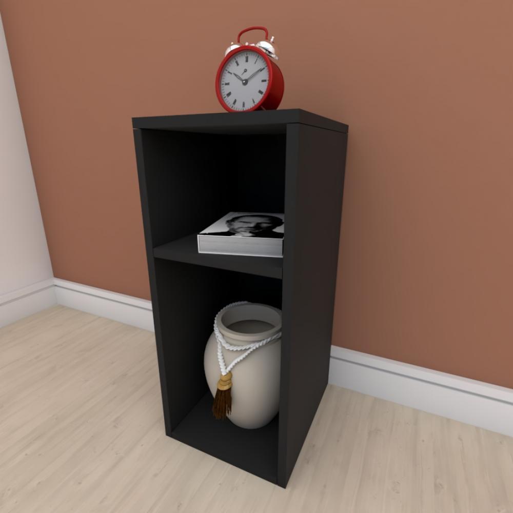 kit com 2 Mesa de cabeceira formato slim em mdf Preto