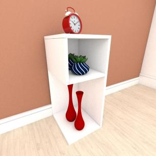Mesa de Cabeceira formato minimalista em mdf Branco