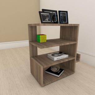 kit com 2 Mesa de cabeceira minimalista com nicho em mdf Amadeirado