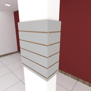 Kit 4 Painel canaletado para pilar cinza cristal 2 peças 54(L)x60(A)cm + 2 peças 20(L)x60(A)cm