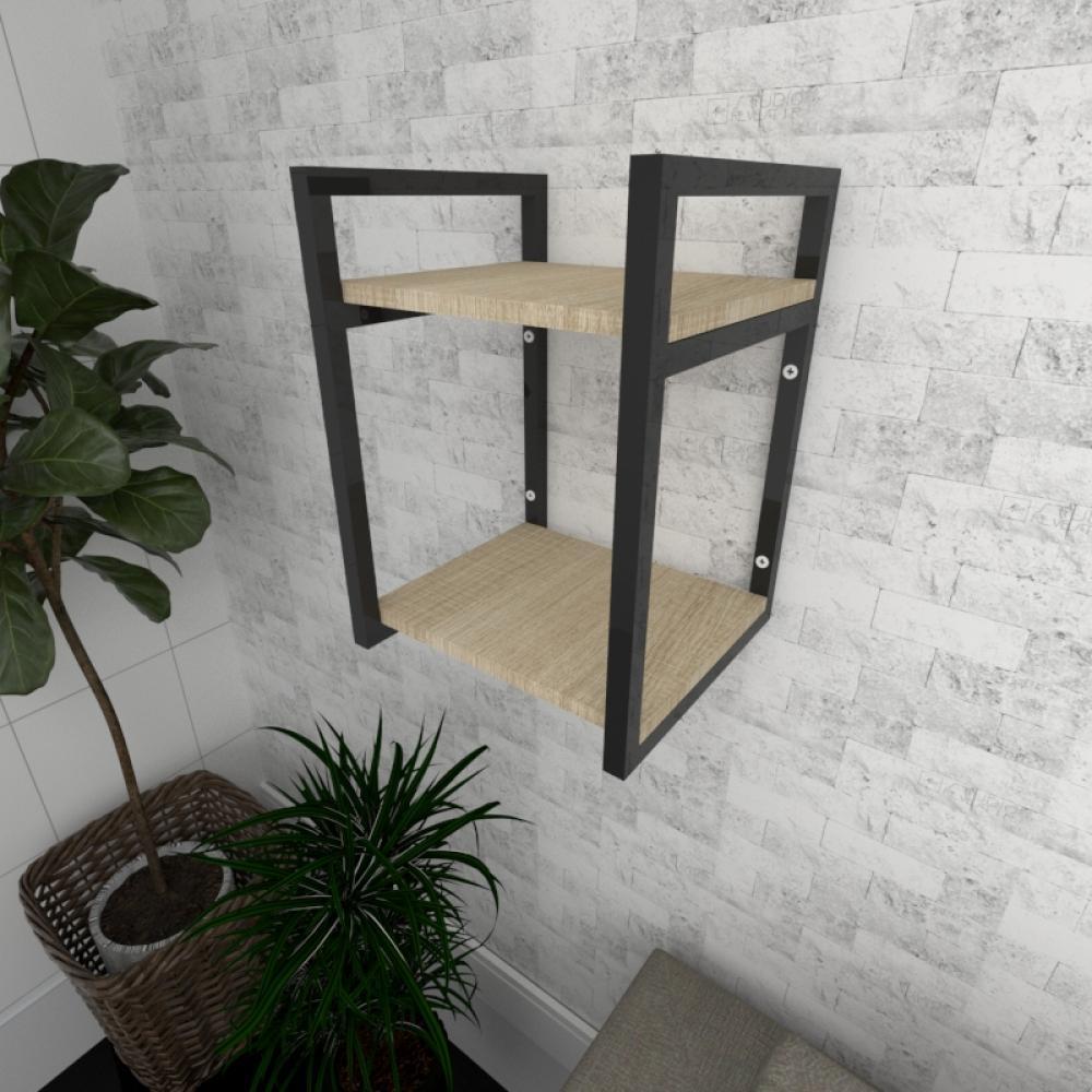Prateleira industrial para Sala aço preto prateleiras 30 cm cor amadeirado claro modelo ind24acsl