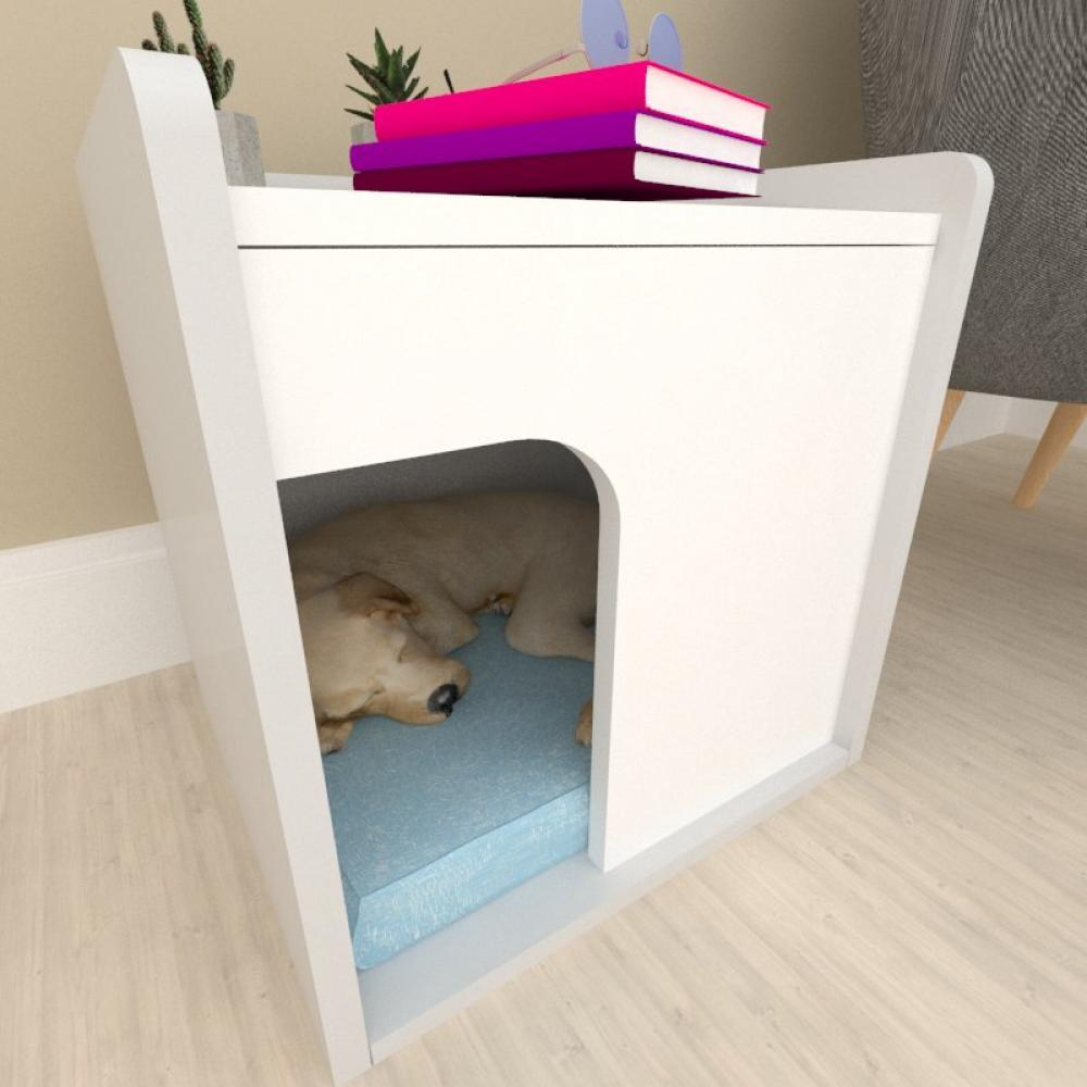 Casinha criado mudo para cachorro mdf cinza com branco