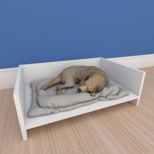 Mesa de cabeceira caminha pequeno cachorro em mdf branco