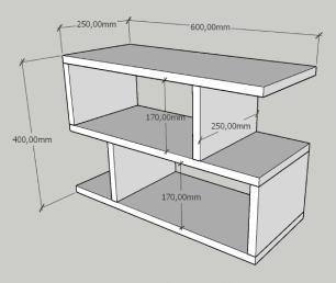 Mini estante para escritório moderna amadeirado claro e preto