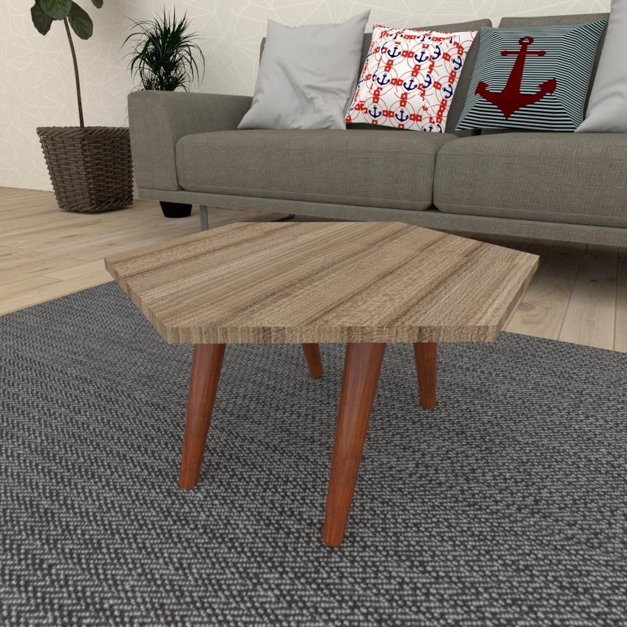 Mesa de Centro hexagonal em mdf amadeirado escuro com 4 pés inclinados em madeira maciça cor mogno