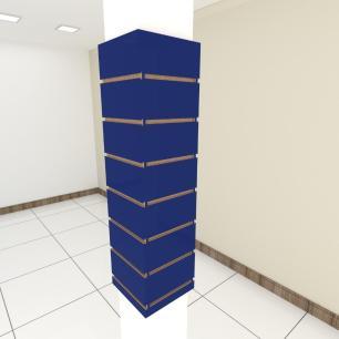 Kit 4 Painel canaletado para pilar azul escuro 2 peças 24(L)x90(A) cm + 2 peças 20(L)x90(A) cm