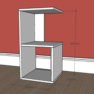 kit com 2 Mesa de cabeceira formato S simples em mdf Branco