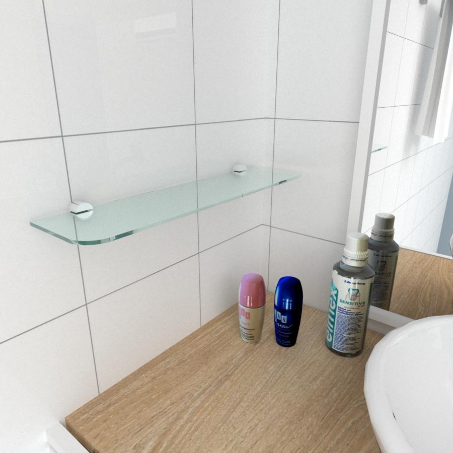 kit com 1 Prateleira de vidro temperado para banheiro 40(C)x8(P)cm