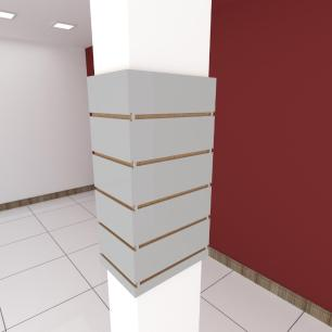 Kit 4 Painel canaletado para pilar cinza cristal 2 peças 24(L)x60(A)cm + 2 peças 30(L)x60(A)cm