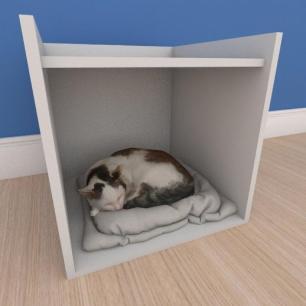 Mesa de cabeceira caminha casinha pequeno gato em mdf cinza