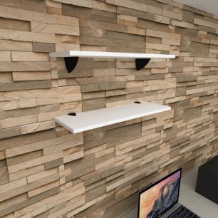 Kit 2 prateleiras para escritório em MDF suporte tucano branco 60x20cm modelo pratesb11