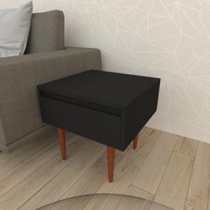 Mesa lateral com gaveta em mdf preto com 4 pés retos em madeira maciça cor mogno