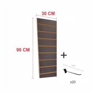 Kit Painel canaletado preto alt 90 cm comp 30 cm mais 20 ganchos 10 cm