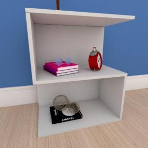 Mesa de cabeceira compacta em formato de S em mdf cinza