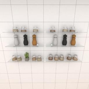 Kit com seis Prateleira para cozinha 50 cm vidro temperado