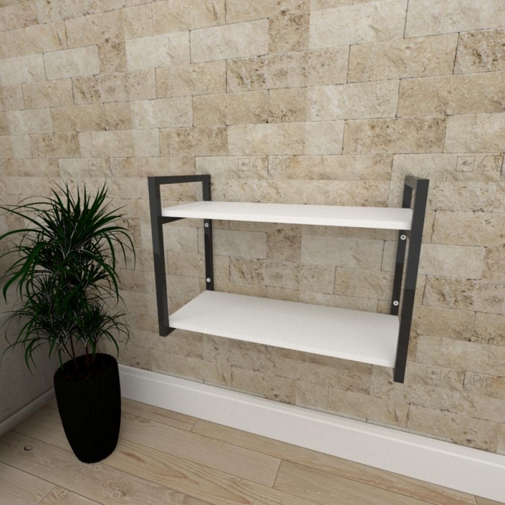 Mini estante industrial para escritório aço cor preto prateleiras 30cm cor branca modelo ind01bep