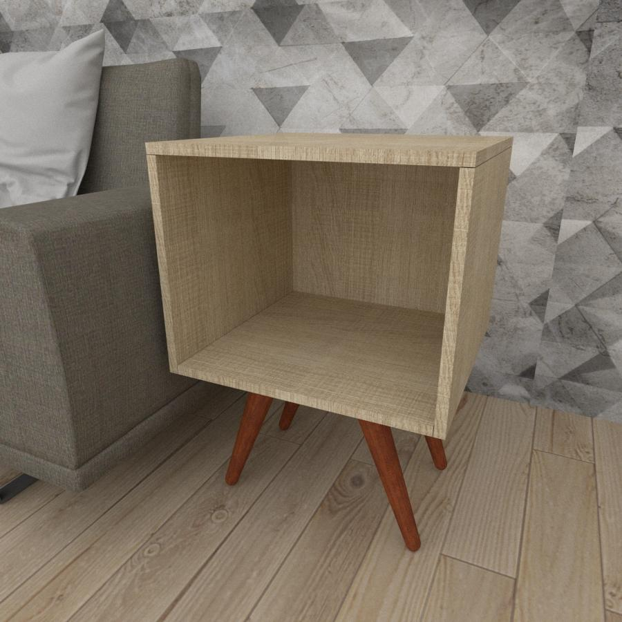 Mesa lateral moderna em mdf amadeirado claro com 4 pés inclinados em madeira maciça cor mogno