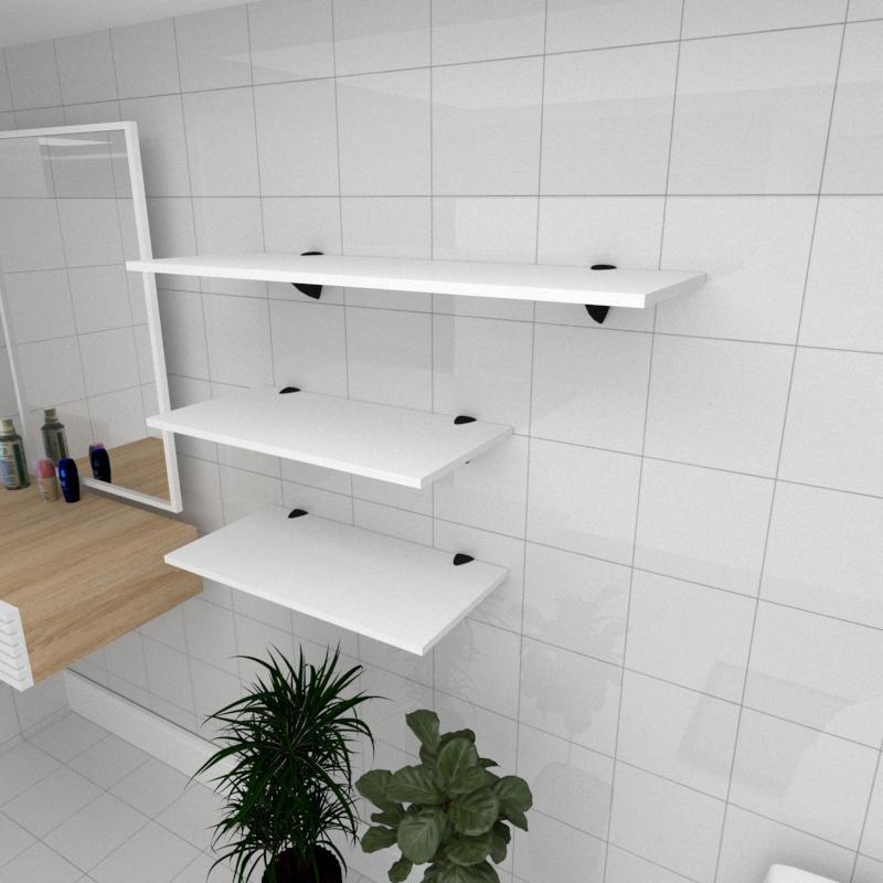 Kit 3 prateleiras banheiro em MDF suporte tucano branco 2 60x30cm 1 90x30cm modelo pratbnb15