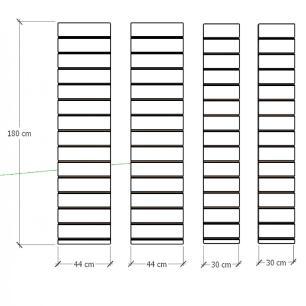 Kit 4 Painel canaletado para pilar amadeirado claro 2 peças 44(L)x180(A)cm + 2 peças 30(L)x180(A)cm