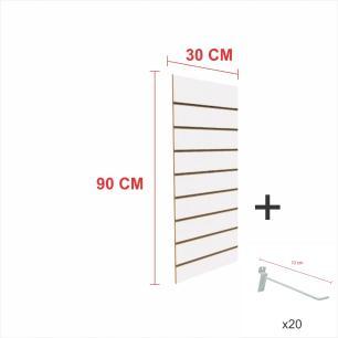 Kit Painel canaletado branco alt 90 cm comp 30 cm mais 20 ganchos 10 cm