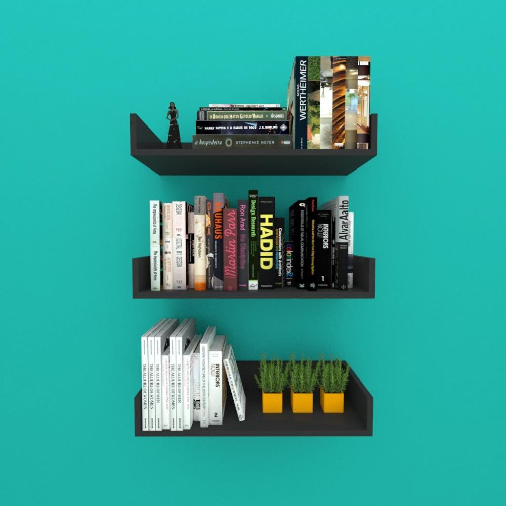 Estante de Livros nichos modernos, em mdf preto
