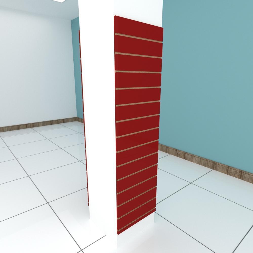 Kit 2 Painel canaletado para pilar vermelho escuro 2 peças 50(L)x180(A)cm