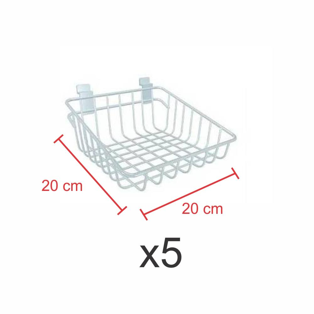 kit para expositor com 5 Cestos para painel canaletado 20x20 cm branco