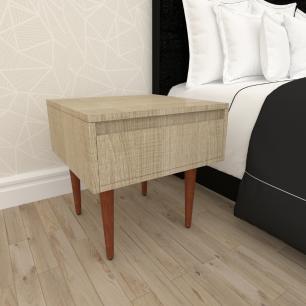 Mesa de Cabeceira com gaveta em mdf amadeirado claro com 4 pés retos em madeira maciça cor mogno