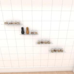 Kit com quatro Prateleira para cozinha 40 cm vidro temperado