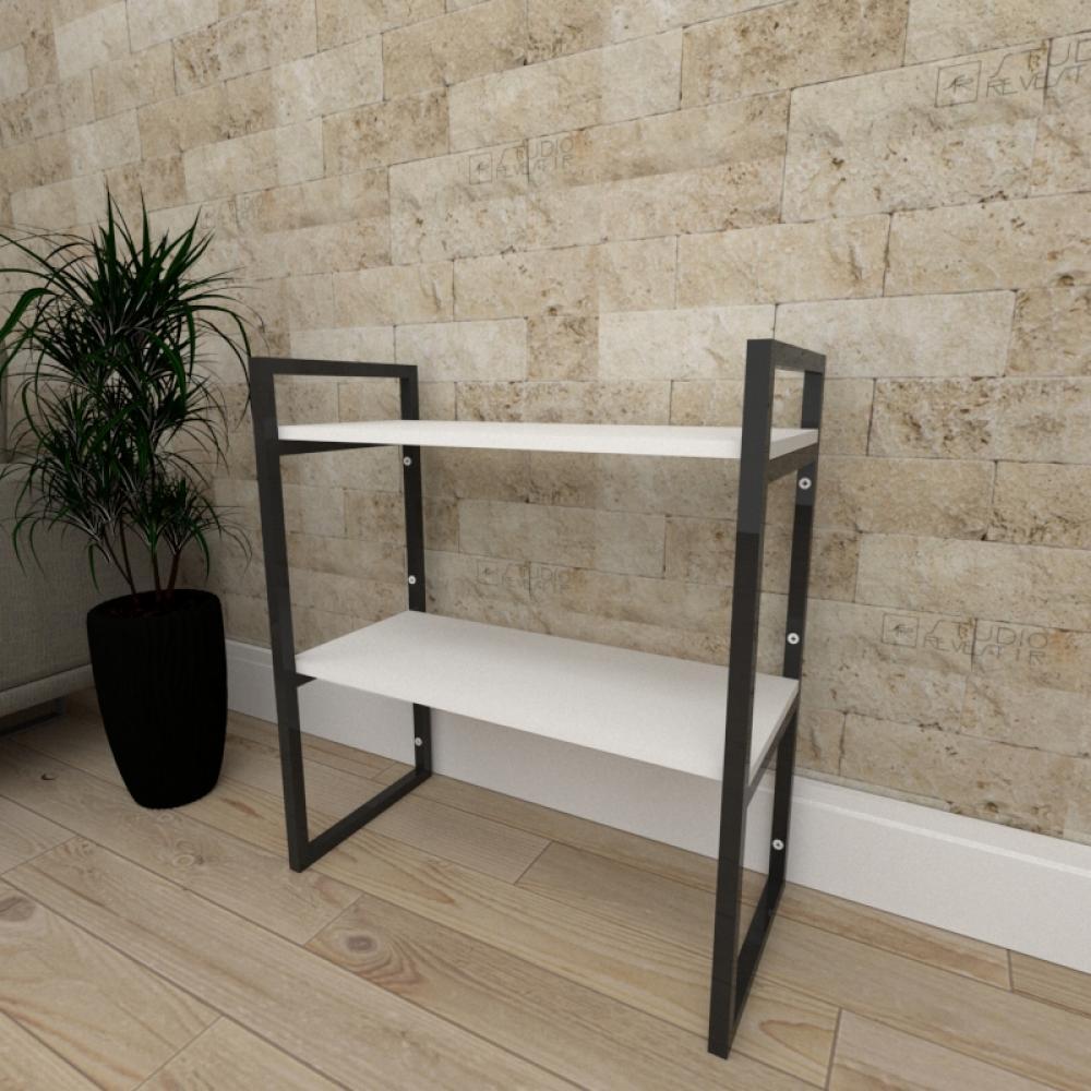 Mini estante industrial para escritório aço cor preto prateleiras 30 cm cor branca modelo ind08bep