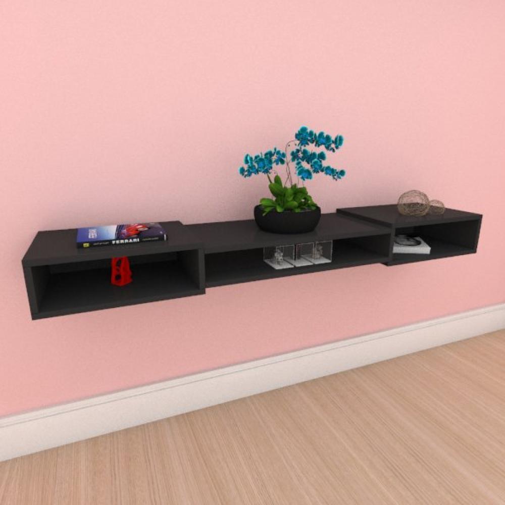 Rack minimalista moderno com nichos em mdf preto