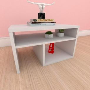 Mesa Lateral moderna compacta com prateleiras em mdf cinza