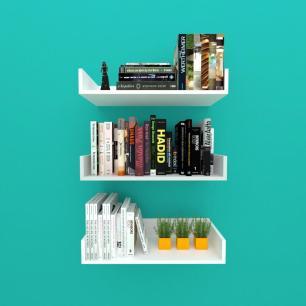 Estante de Livros nichos modernos, em mdf branco com cinza