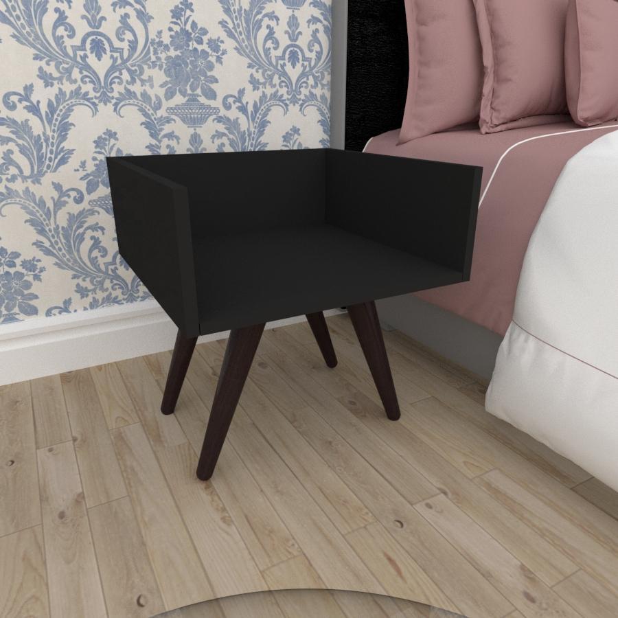 Mesa de Cabeceira minimalista em mdf preto com 4 pés inclinados em madeira maciça cor tabaco