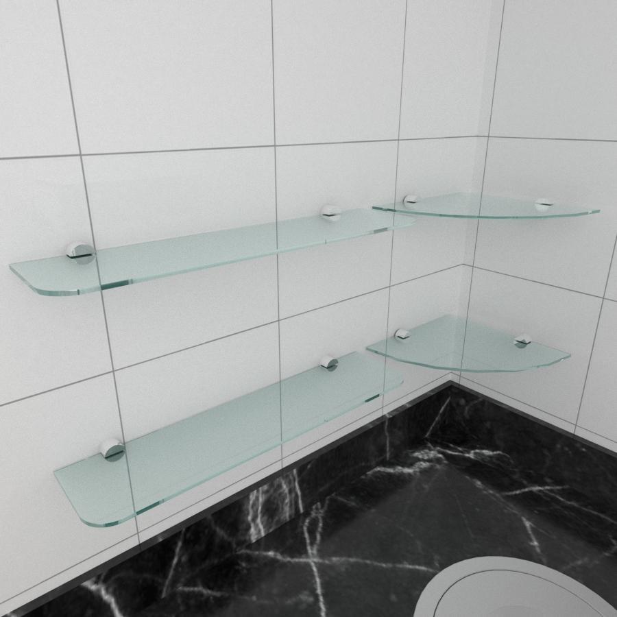 kit com 4 Prateleira de vidro temperado para cozinha 2 de 20 cm para canto e 2 de 40 cm reta